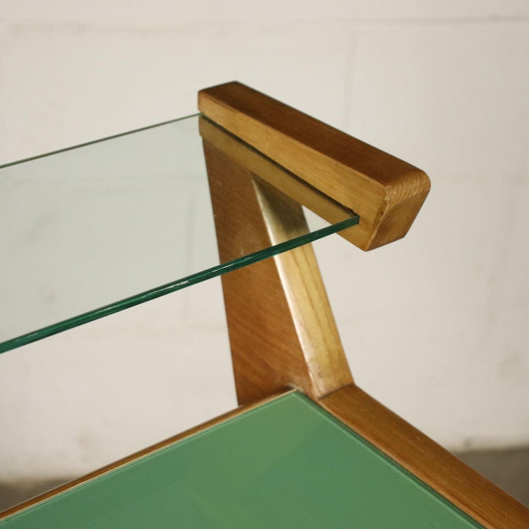 Desk Solid Beech Ash Veneer Back-Treated Clear Glass, Italy, 1950s In Excellent Condition For Sale In Milano, IT