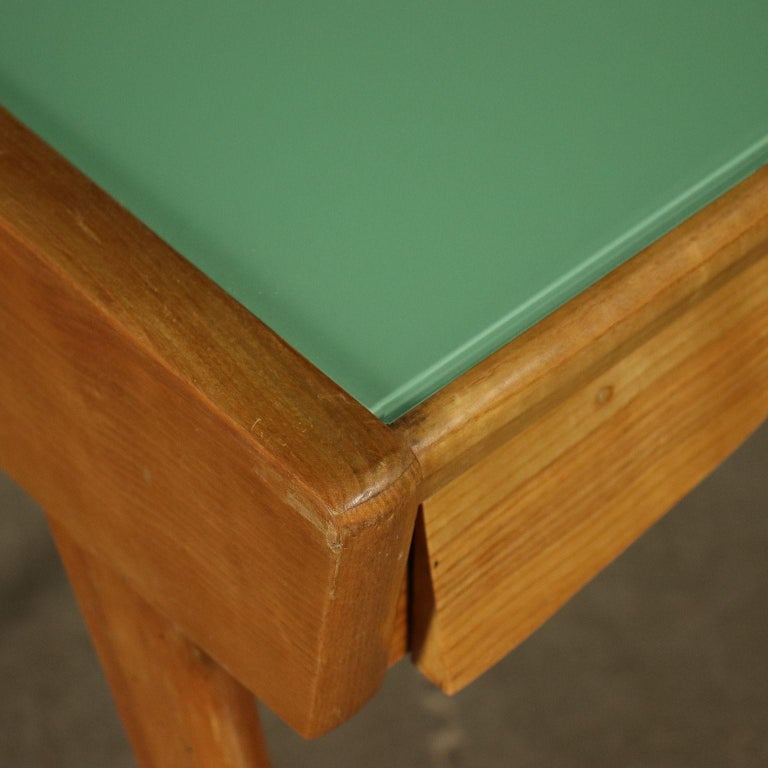 Desk Solid Beech Ash Veneer Back-Treated Clear Glass, Italy, 1950s For Sale 1