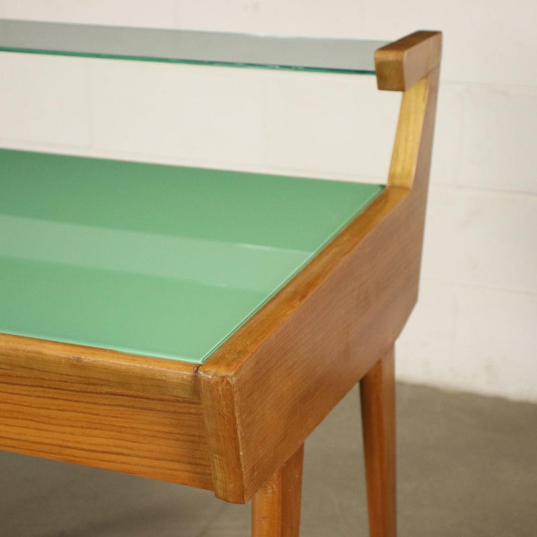 Desk Solid Beech Ash Veneer Back-Treated Clear Glass, Italy, 1950s For Sale 2