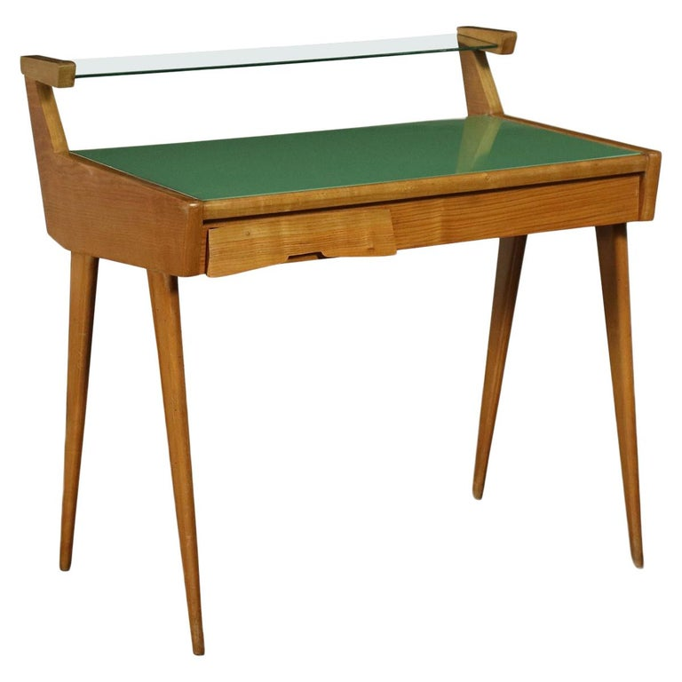 Desk Solid Beech Ash Veneer Back-Treated Clear Glass, Italy, 1950s For Sale