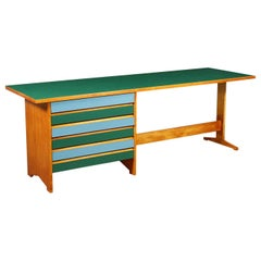 Desk Solid Wood Blond Mahogany Formica, Italy, 1950s