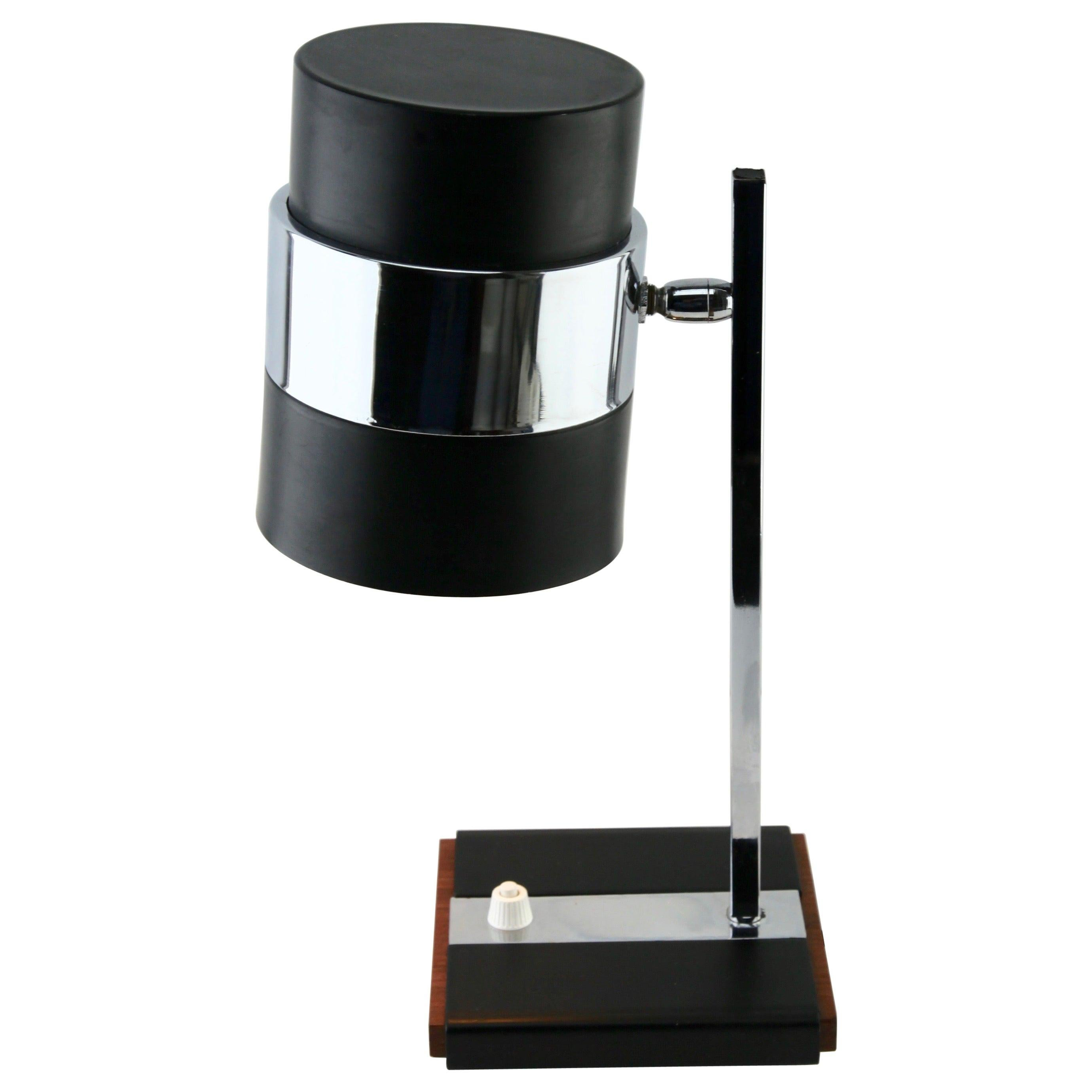 Desk / Table Lamp Metal Flex Shade and Chrome Mount, Base with a Wooden Detail