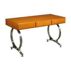 Desk Tanganyika Walnut Veneer Chromed Metal, Italy, 1970s