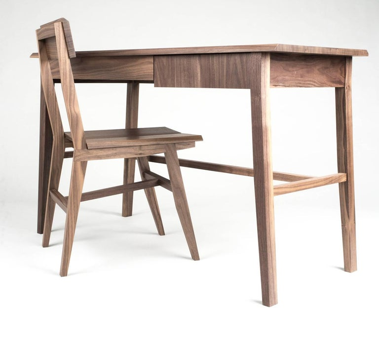 Modern, hardwood rift desk. Our writing desk and chair combo is still the most popular pairing we make. Timeless lines and subtle tapers make this desk the crowing jewel of any home office. The writing desk is available in your choice of left or