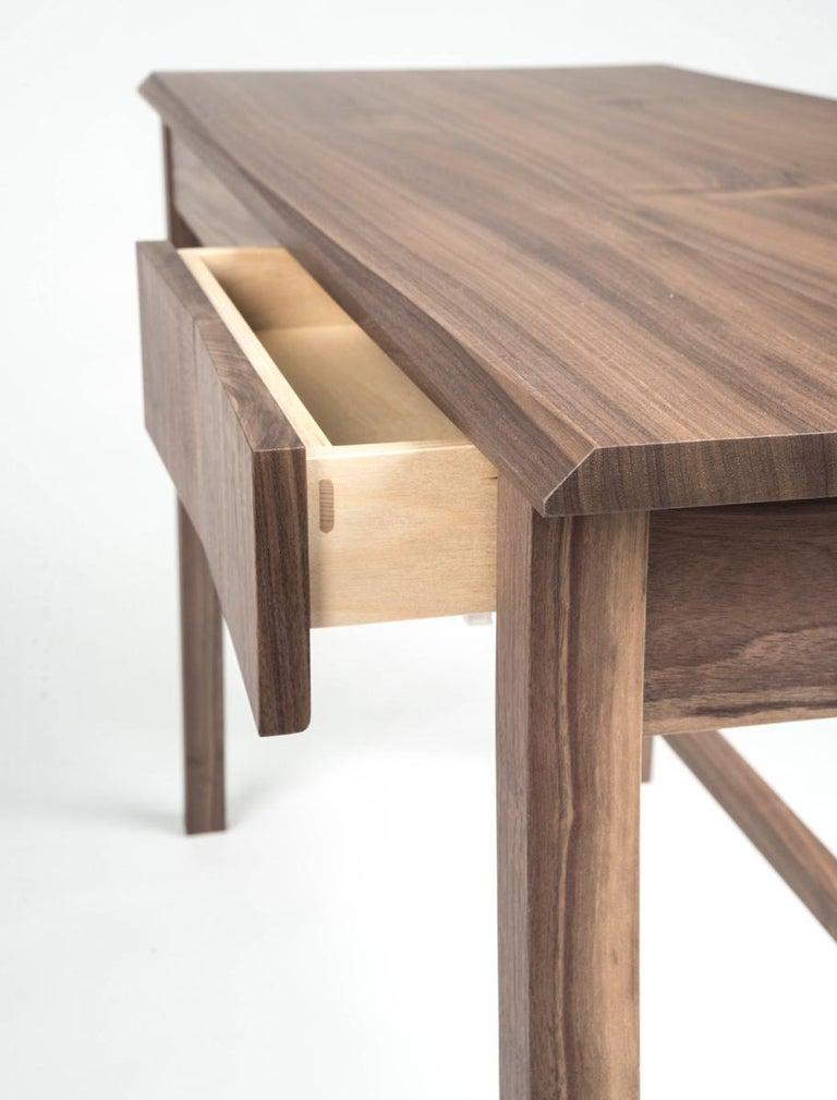 Contemporary Desk, Walnut, Modern, Storage, Hardwood, Customizable, Semigood  For Sale