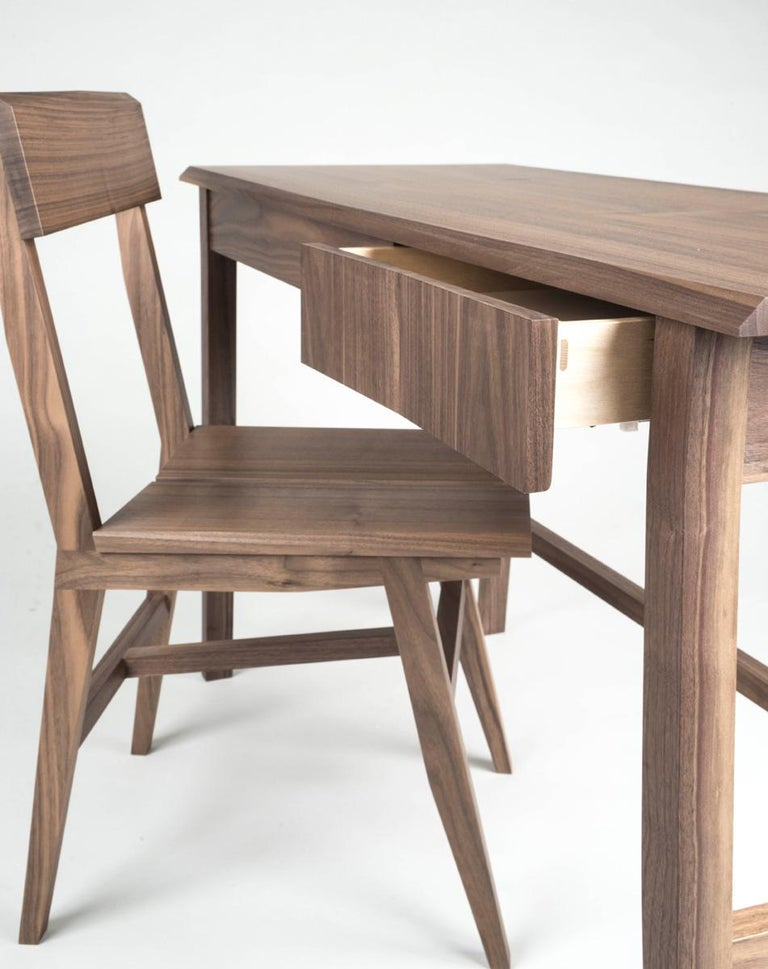 Desk, Walnut, Modern, Storage, Hardwood, Customizable, Semigood  For Sale 2