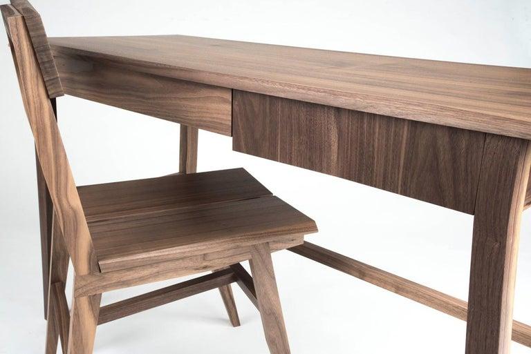 Desk, Walnut, Modern, Storage, Hardwood, Customizable, Semigood  For Sale 3