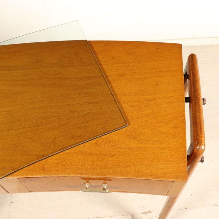 Desk with Drawers Stained Beech Mahogany Veneer Glass Vintage 1950s For Sale 4