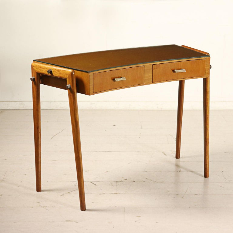 Desk with Drawers Stained Beech Mahogany Veneer Glass Vintage 1950s For Sale 7