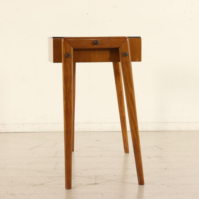Mid-Century Modern Desk with Drawers Stained Beech Mahogany Veneer Glass Vintage 1950s For Sale