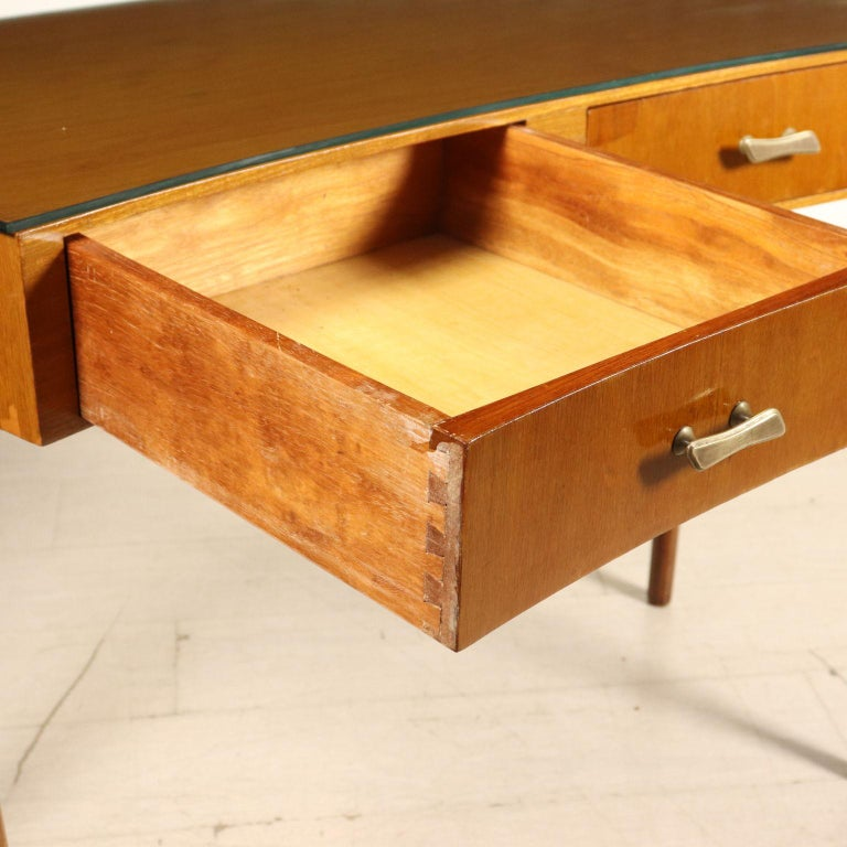 Italian Desk with Drawers Stained Beech Mahogany Veneer Glass Vintage 1950s For Sale