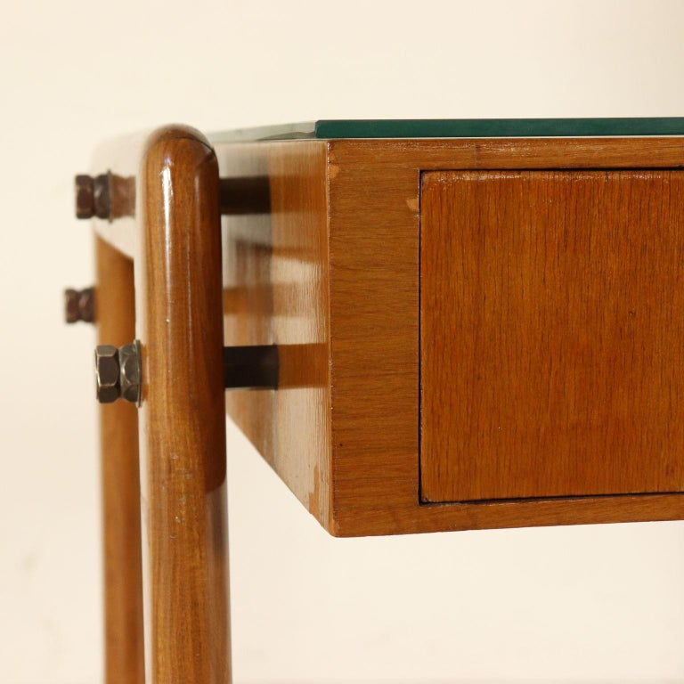 Mid-20th Century Desk with Drawers Stained Beech Mahogany Veneer Glass Vintage 1950s For Sale