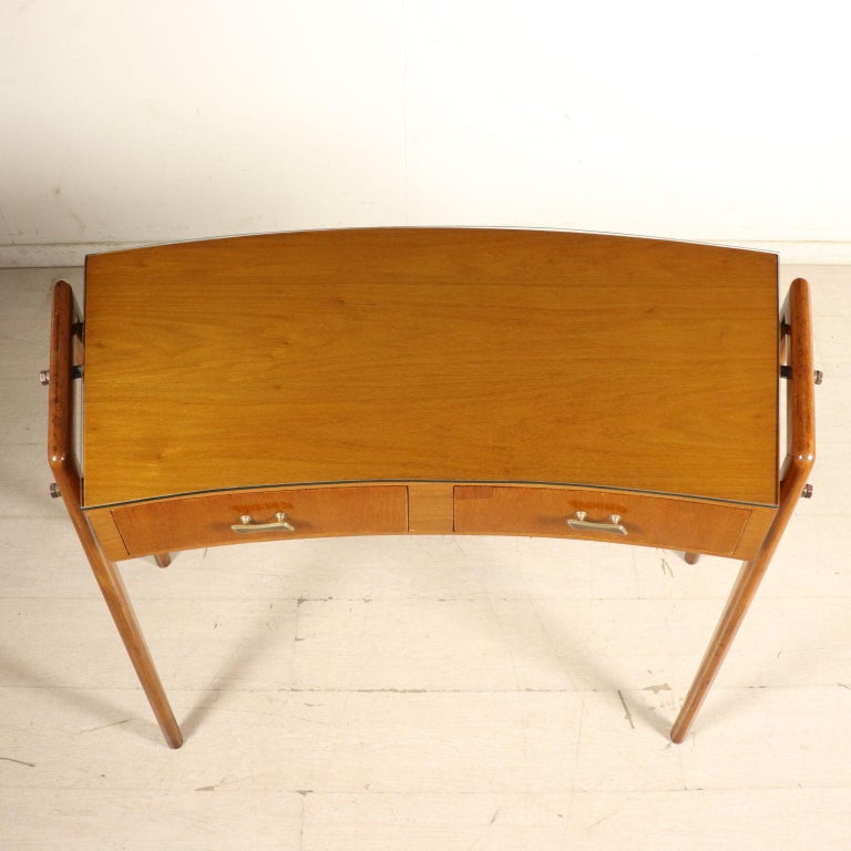 Desk with Drawers Stained Beech Mahogany Veneer Glass Vintage 1950s For Sale 3