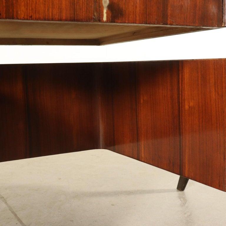 Desk Wood Veneer Glass Vintage, Italy, 1950s For Sale 5