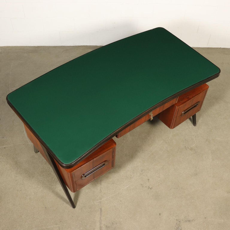 Desk Wood Veneer Glass Vintage, Italy, 1950s For Sale 7