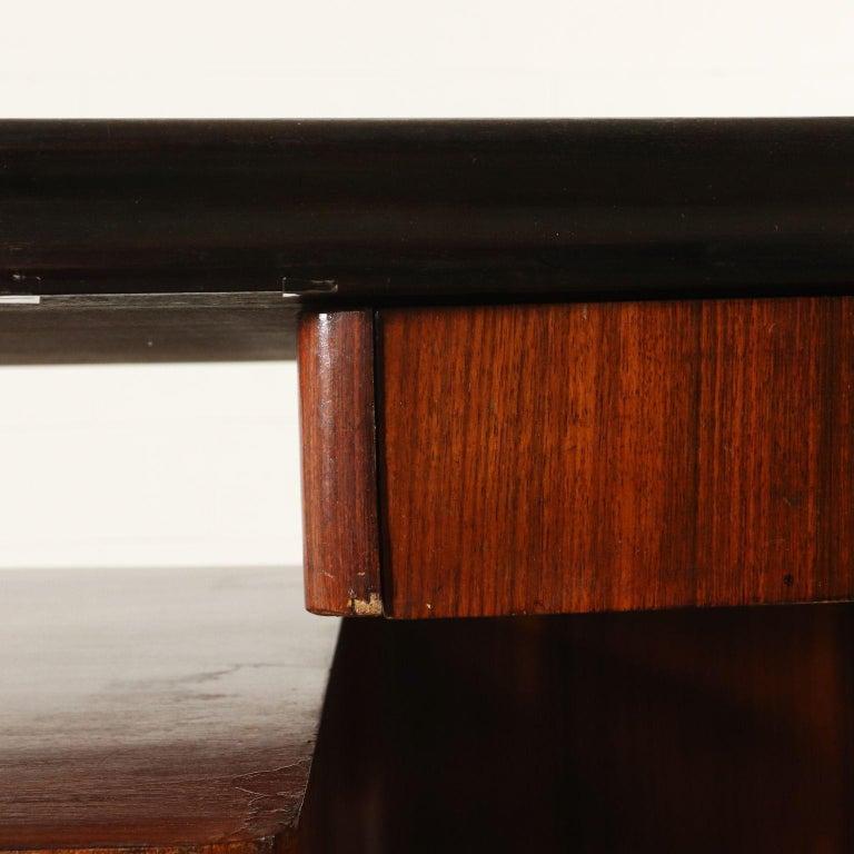 Mid-20th Century Desk Wood Veneer Glass Vintage, Italy, 1950s For Sale