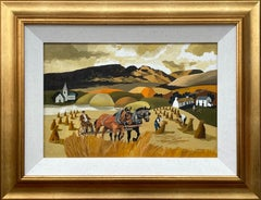 Abstract Landscape of Horses in Cornfield in Warm Colours by Modern Irish Artist