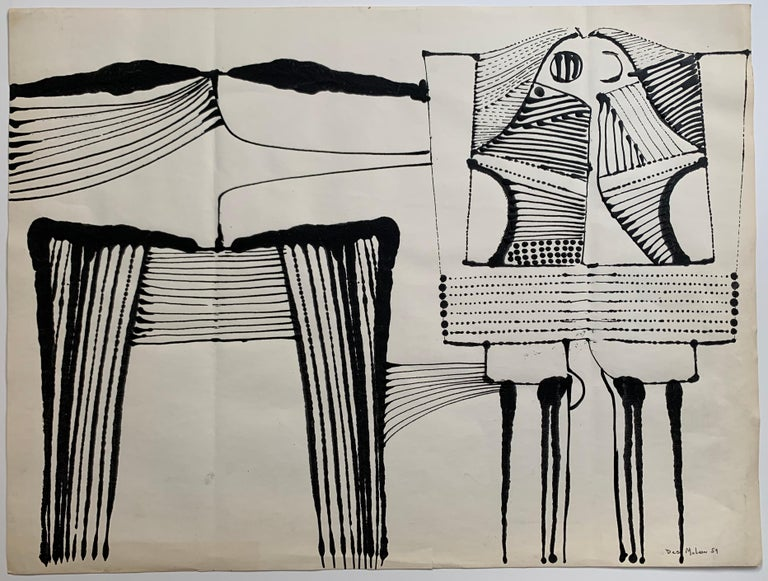 Outstanding abstract expressionist suite of 4 compositions by American artist, Desmond McLean (1929-2015). Untitled, 1959. Each of the four paintings is ink and gouache on paper, each sheet measures 18 x 24 inches. Paper exhibits some unintended