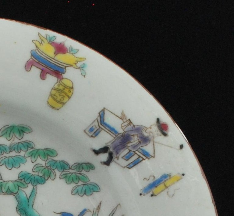 Chinoiserie Dessert Plate, Bow Porcelain Factory, circa 1760 For Sale