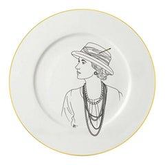 """Dessert Porcelain Gold Plate, Parisian Style """"Couture"""""""