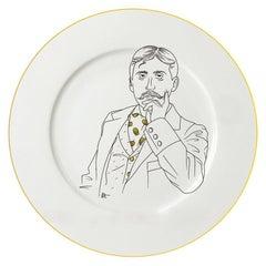 Dessert Porcelain Gold Plate, Parisian Style Marcel Proust