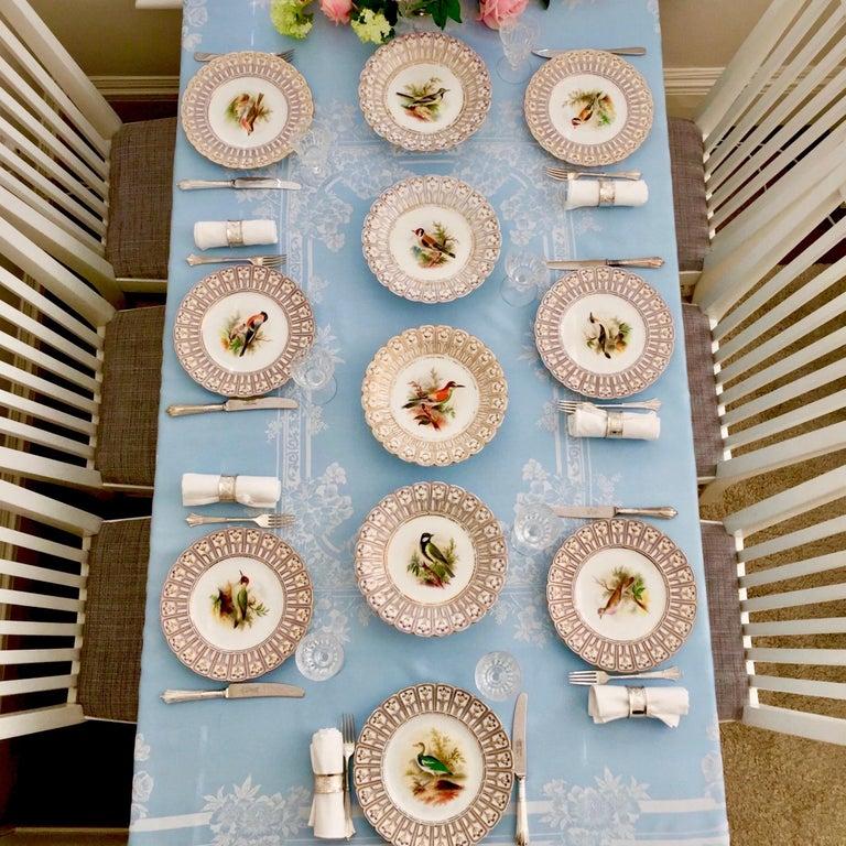 English Minton Porcelain Dessert Service, Named Birds by Joseph Smith, Victorian 1851 For Sale