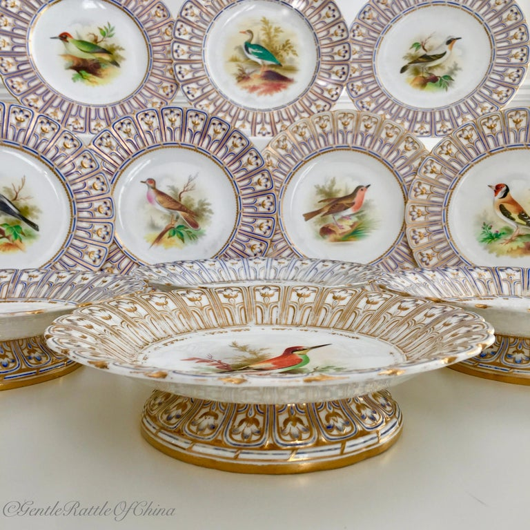 Mid-19th Century Minton Porcelain Dessert Service, Named Birds by Joseph Smith, Victorian 1851 For Sale
