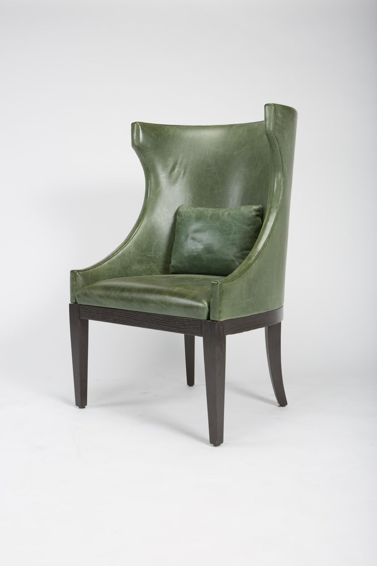 Dessin Fournir Classical Modern High Wingback with Green Leather Armchairs In Good Condition For Sale In St. Louis, MO