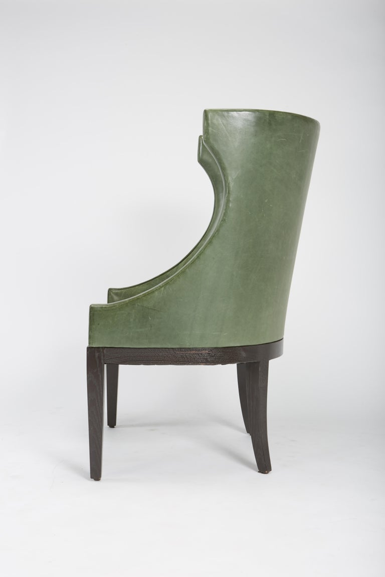 Contemporary Dessin Fournir Classical Modern High Wingback with Green Leather Armchairs For Sale