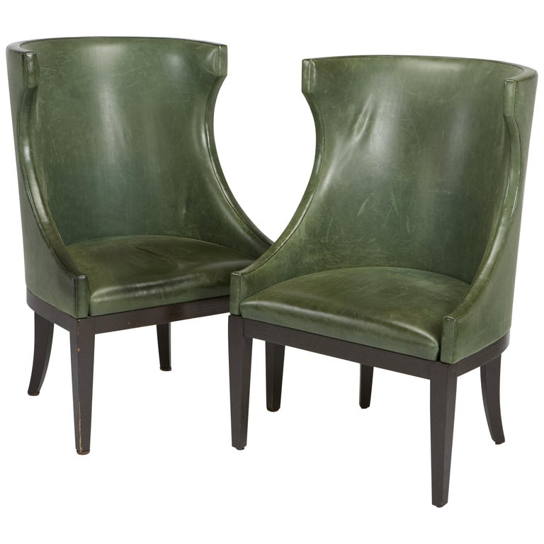 Dessin Fournir Classical Modern High Wingback with Green Leather Armchairs For Sale