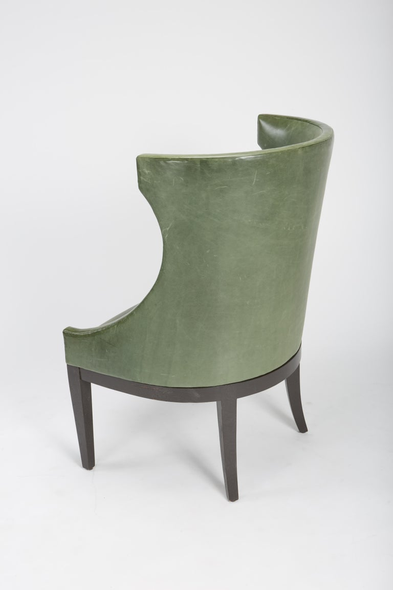 Dessin Fournir Classical Modern High Wingback with Green Leather Armchairs 6