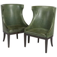 Dessin Fournir Classical Modern High Wingback with Green Leather Armchairs