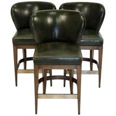 Dessin Fournir Green Leather Bar Stools, Set of Three