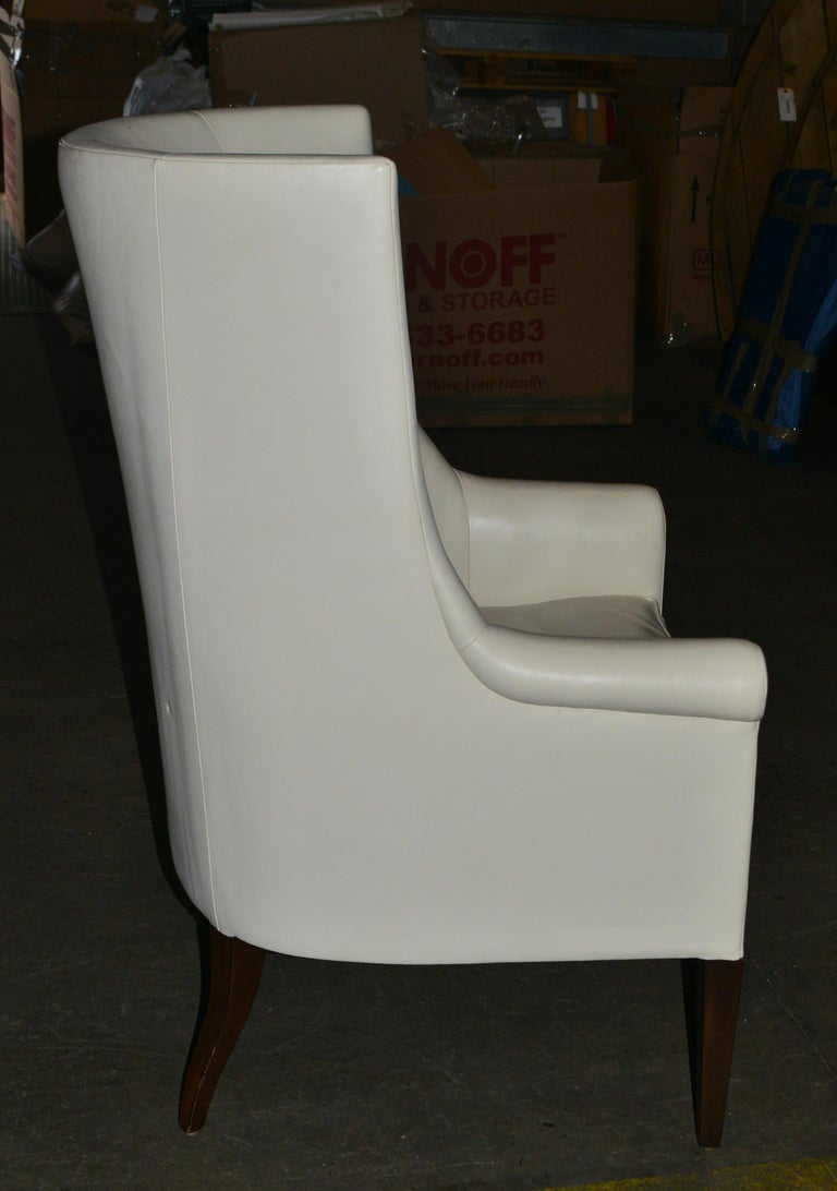 American Dessin Fournir Modern White Leather High Back Armchairs For Sale