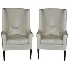Dessin Fournir Modern White Leather High Back Armchairs