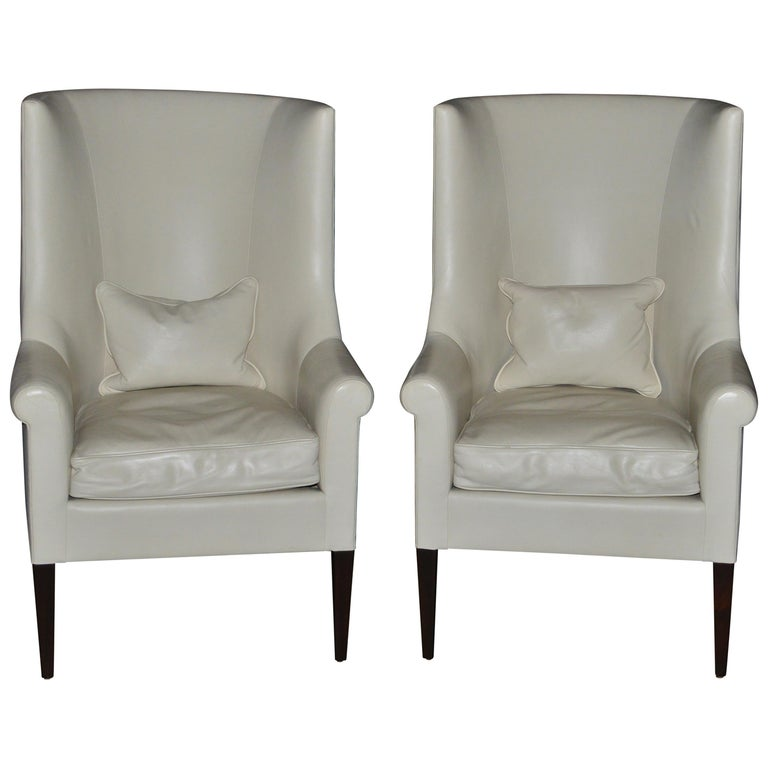 Dessin Fournir Modern White Leather High Back Armchairs For Sale