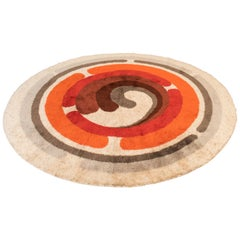 Desso Op Art Carpet, Wool White Orange, Mid-Century Modern, 1960s