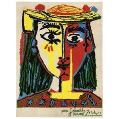 Desso Tapestry, Portrait de femme au chapeau à pompons et au corsage imprimé