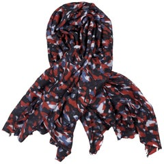 DESTIN Navy & Red Camouflage Print Wool Blend Gauze Scarf