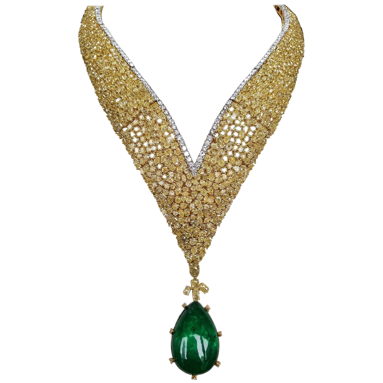 Detachable Emerald Drop Pendant and Yellow Diamond Necklace in 18 Karat Gold