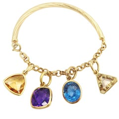 Detachable Multi-Color Fancy-Shaped Gemstone Charm Bracelet in 18K Yellow Gold