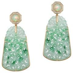Goshwara  Carved Jade Opal And Diamond Earrings