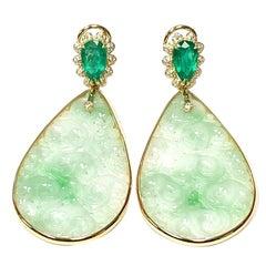 Detachable Pears Shape Emerald, Carved Jade