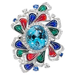 Detachable Ring White Diamonds White Gold Aquamarine Sapphires Micromosaic