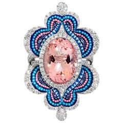 Detachable Ring White Diamonds White Gold Morganite Decorated with Micromosaic