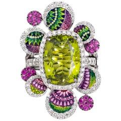 Detachable Ring White Diamonds White Gold Peridot Pink Sapphires Micromosaic