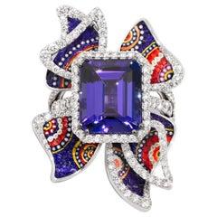 Detachable Ring White Diamonds White Gold Tanzanite Decorated with Micromosaic