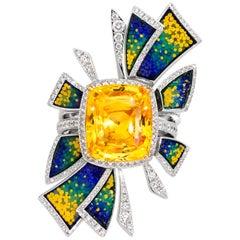 Detachable Ring White Diamonds White Gold Yellow Sapphire Decorated Micromosaic