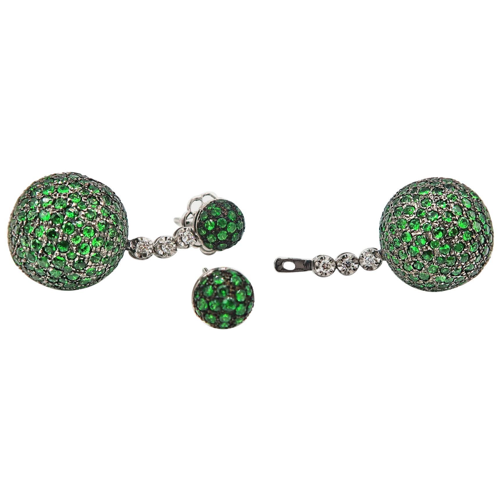 Detachable Tsavorite Ball with Diamond Gold Drop Stud Earrings