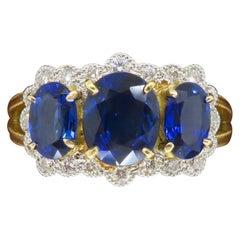 Detailed 18k Three Stone Blue Sapphire & Diamond Ring